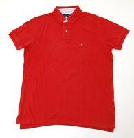 Tommy Hilfiger Poloshirt Polohemd Herren Gr.M rot uni Piquè -S1066