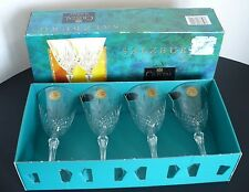 Cristal De Flandre Lead Crystal Slazburg Wine Glass Set of 4 Made in France. NIB