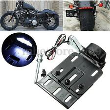 Folding LED Light Side Mount License Plate For Harley Sportster XL Dyna 04-UP