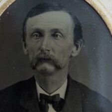 Framed Tintype Gentleman Walrus Style Mustache