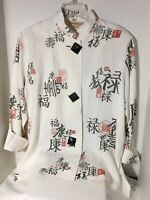 Norm Thompson escape the ordinary Jacket Size Medium White Linen Oriental Letter
