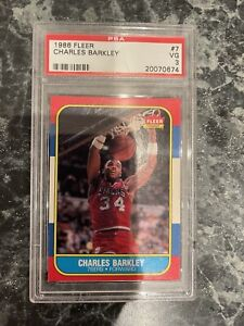 CHARLES BARKLEY FLEER CARD 1996 PSA7 SIXERS
