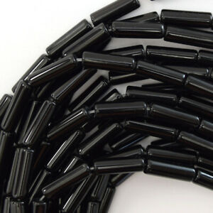 "13mm black onyx tube beads 15.5"" strand"
