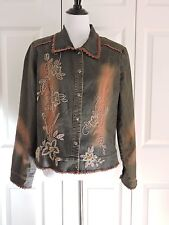 Stone Washed Cotton Blend Jacket Beaded By Simon Chang Women's 12
