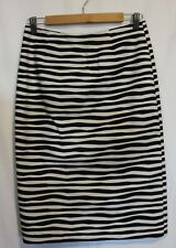 MARCS ~ Black White Striped Fitted Sexy Stretch Cotton Pencil Skirt 10 Like New