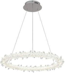 Modern Crystal Pendant Light Round Gold 32W Dimmable Flush Mount Hanging Lightin