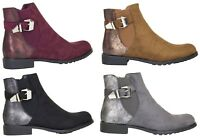 Ankle Boots Chelsea Suede Buckle Casual Sparkly Contrast Shoes UK Womens Ladies