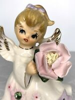 Vintage LEFTON August Angel Figurine Pink Flower & Green Stone #6224 Japan 5""