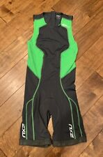 2XU Comp Trisuit Rear Zip, Charcoal/Green, Men's Medium
