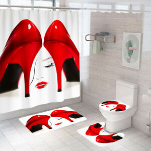 Red High Heels Bathroom Rug Set Shower Curtain Thick Toilet Lid Cover Bath Mat