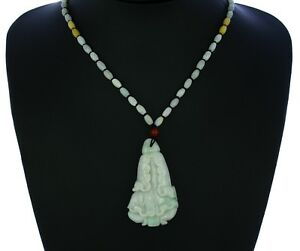 """2.4""""China Certified Grade A Nature Hisui Jadeite Jade Chinese cabbage Necklace"""