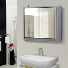 HOMCOM Wall Mounted Mirror Cabinet Storage Shelf Bathroom Cupboard