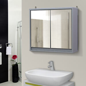 HOMCOM Wall Mounted Mirror Cabinet Storage Shelf Bathroom Cupboard