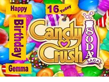 CANDY CRUSH SAGA A4 TRI FOLD BIRTHDAY CARD  PERSONALISED ANY NAME ANY AGE