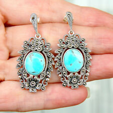 E844 Boucles d'oreilles Style Art Déco Argent Massif 925 Turquoises Marcassites