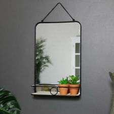 Black metal industrial style wall mirror shelf bathroom bedroom vanity home gift