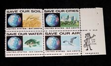 Old zip Block 1413a! Mint MNH US Stamps anti-pollution issue - Save our water...