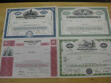 4 VINTAGE STOCK CERTIFICATES General Motors Am Airlines Western Union General AM