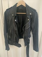 Zara Genuine Leather Ladies Biker Jacket - Size Medium - Great Condition