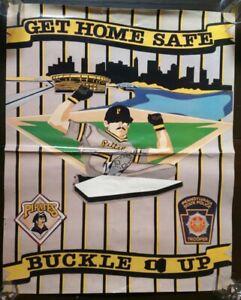 VINTAGE 1980s PITTSBURGH PIRATES POSTER - THREE RIVERS STADIUM - PA STATE POLICE