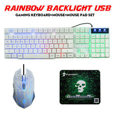 T6 Rainbow LED Backlight USB Gaming Keyboard Mouse Set Ergonomic For PC Laptop