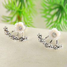 Korean Women Fashion Jewelry Rhinestone Crystal Ear Stud Daisy Flower Earrings