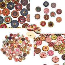50Pcs Flower Picture Wooden Button 2 Holes Mixed Color Cloth Sewing DIY Craft UK