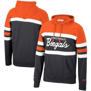Cincinnati Bengals Mitchell & Ness COACHES THROWBACK Pullover Hoodie- Orange
