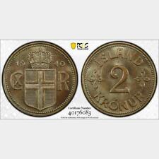 1940 Iceland 2 Kronur. PCGS SP 65. KM-4.2
