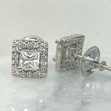 545218ddb7e4 Corte Princesa Halo Diamante Pendientes 14k Oro Blanco ( 0.77 Ctw )