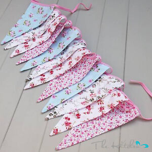 Vintage Floral Party Bunting 100% Cotton Double Sided Bunting  3m 12 Flags