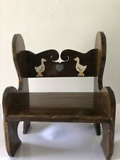 Vintage Handmade Childs Bench Wood W/ Goose and Heart Design