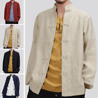 Men Chinese Style Slim Fit Casual Shirt Long Sleeve Collar Dress Shirts Tang Top