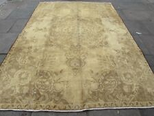 Vintage Hand Made Traditional Wool faded Beige Distressed Carpet 314x227cm