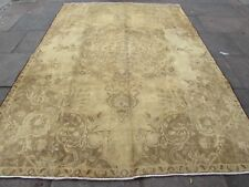 Old Hand Made Traditional Persian Wool faded Beige Distressed Carpet 314x227cm