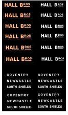 MODEL BUS WATERSLIDE TRANSFERS 1/76th FLEETNAMES + DEST's HALL BROS. S. SHIELDS