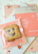 Just for You Pink Hearts Cello Bags cookie candy packaging gift wrap favour bag