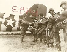 WWII  8X10 ACTION PHOTO 82ND AIRBORNE PARATROOPERS D-DAY GEAR UP FOR MISSION WOW