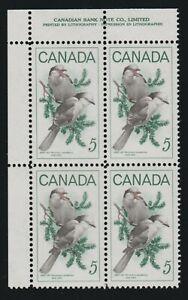 1968 Canada SC# 478 UL - Wildlife Gray Jays - Plate Block M-NH Lot # 378