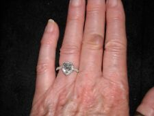 14k white gold engagement diamond ring 1.65 TCW heart center F SI 3 .51 ct round