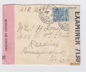 WW2 Meathas Truim Co Longphort Ireland 1942 1s3d Air mail to USA Censor Cover