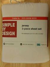 JERSEY 3-PIECE SHEET SET - SIZE TWIN XL - COLOR WHITE - NWT
