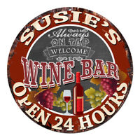 CWWB-0351 SUSIE'S WINE BAR OPEN 24 HOURS Chic Tin Sign Decor Gift Ideas