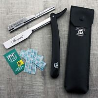 Men's Shaving Straight Cut throat Razor In BLACK With Leather Pouch+Blade. HIM