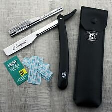 Men's Shaving Shavette/Cut throat Razor In BLACK With Leather Pouch+Blade. HIM