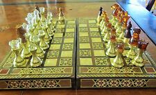 Solid Gold Brass Amber Staunton Chess Gem like Set Marquetry MOP Board Case Box
