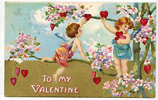 Antique Vintage Valentines Day Postcard Cupids Pick Hearts1910 EMB Germany