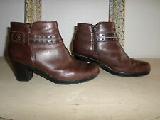 Women's Clarks Brown Leather Ankle Boots with Belted Design. Size 8.5M