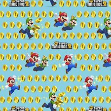 "Nintendo Super Mario 2 Coins Toss 100% cotton 43"" Fabric by the yard"