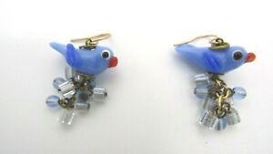"""Beautiful Art Glass Blue Bird Crystal Dangle Earrings 1 1/2"""" L - Birds 7/8"""" L"""